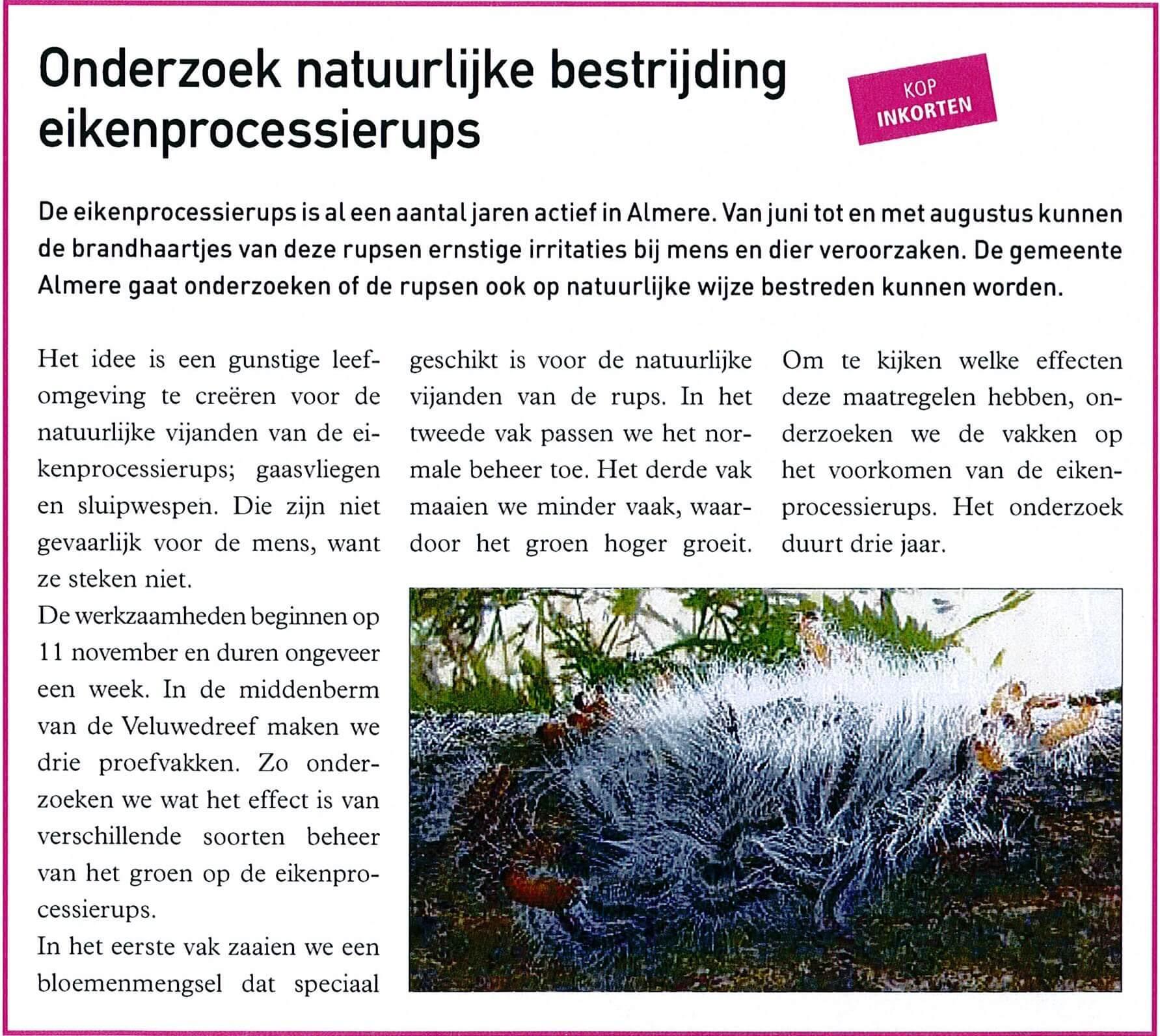 Daktuinen Dakterrassen: Onderzoek Natuurlijke Bestrijding Eikenprocessierups L